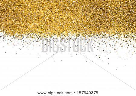 Gold border Sequins Golden shine. Powder. Glitter. Shining background