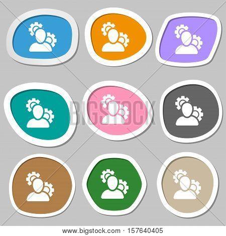 Profile Setting Icon Symbols. Multicolored Paper Stickers. Vector