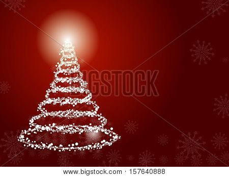 Christmas holiday tree , red background , snowflakes