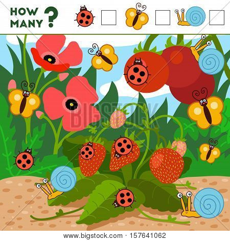 Counting Game For Preschool Children. Insects And Background