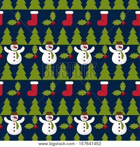 Winter Holiday Seamless Pattern Background.