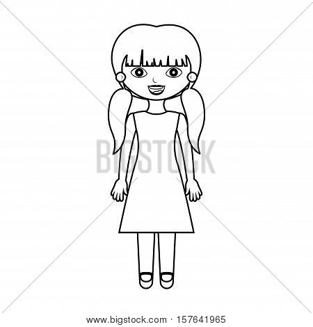 girl silhouette with pigtails and dress vector illustration