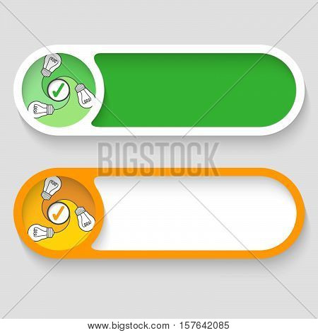 Set of two vector abstract buttons with bulb and check mark