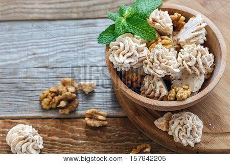 Delicate Meringue With Nuts.