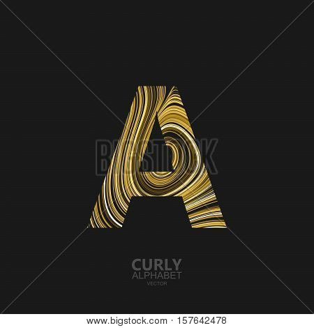 Curly textured Letter A. Typographic vector element for design. Part of marble or acrylic texture imitation textured alphabet. Letter A with diffusion lines swirly pattern. Vector illustration