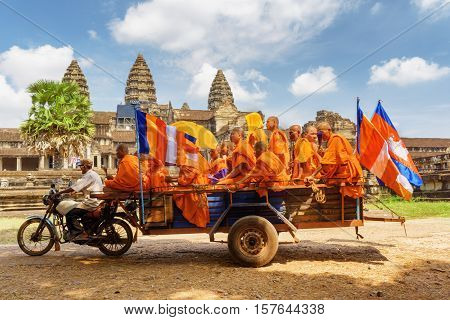 Buddhist Monks In Ancient Temple Angkor Wat, Siem Reap, Cambodia