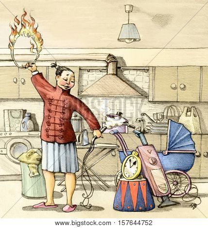 a housewife plays the role of a trainer to blow up a watch through the ring of fire
