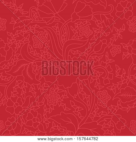 Colorful Red East Asian Seamless Repeating Floral Pattern