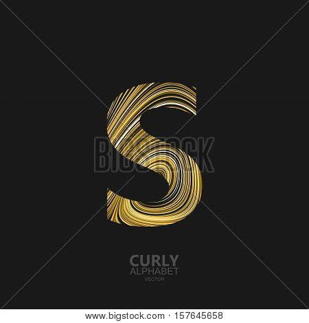 Curly textured Letter S. Typographic vector element for design. Part of marble or acrylic texture imitation textured alphabet. Letter S with diffusion lines swirly pattern. Vector illustration