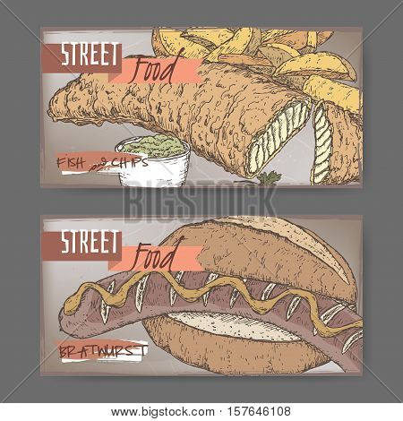 Set of two color landscape banners with fish, chips and bratwurst on grunge background. British and German cuisine. Street food series. Great for market, restaurant, cafe, food label design.