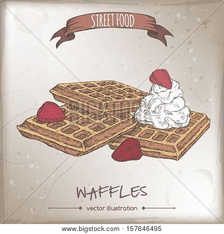 Belgian waffles with whipped cream and strawberries color sketch on grunge background. Belgian cuisine. Street food series. Great for recipe books, markets, restaurants, cafe, food label design.