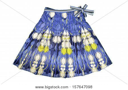 Floral skirt with belt and bow isolated on white background. Blue short skirt with yellow design cut out on white.