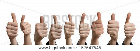 Panoramatic Photo Of Many Thumbs Up. Isolated On White Backgroun