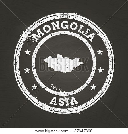 White Chalk Texture Grunge Stamp With Mongolia Map On A School Blackboard. Grunge Rubber Seal With C