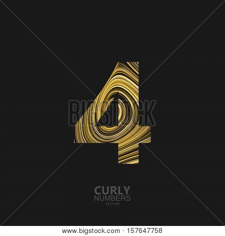 Curly textured number 4. Typographic vector element for design. Part of marble or acrylic texture imitation textured alphabet. Digit four with diffusion lines swirly pattern. Vector illustration