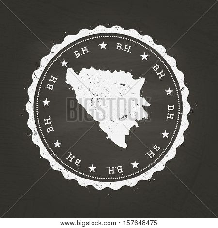 White Chalk Texture Rubber Stamp With Bosnia And Herzegovina Map On A School Blackboard. Grunge Rubb