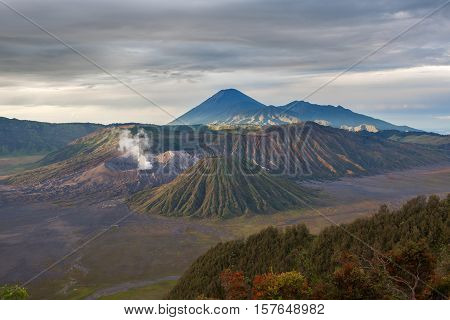 Mount Bromo Volcano (gunung Bromo) During Cloudy Sunrise From Viewpoint Of Penanjakan. Colorful Volc