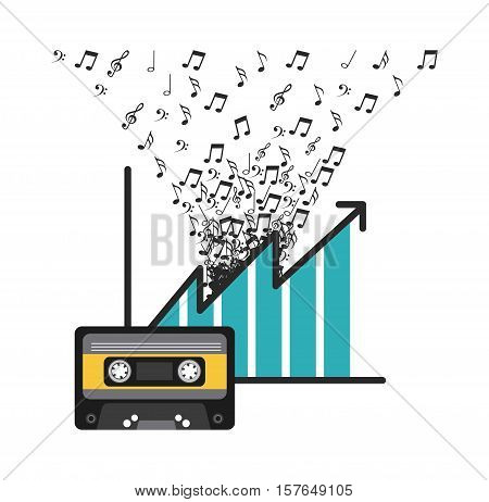 cassette music tape with graphic chart and musical notes over white background. vector illustration