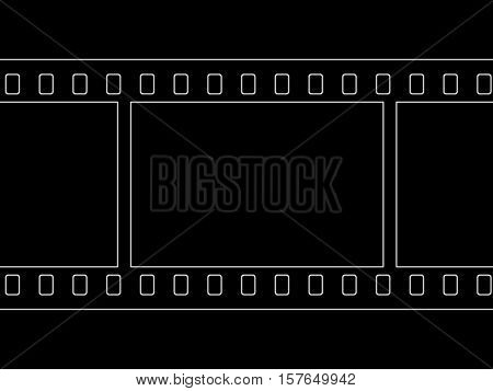 Contours of the photographic film on a black background