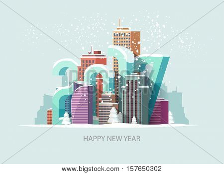 New year 2017. Greeting card.