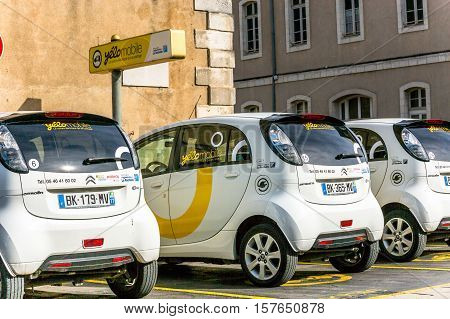La rochelle France - April 19 2016: Free recharging Station of Yelow Mobile Electric Car