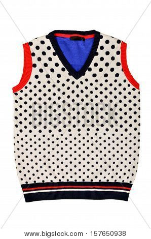 Sleeveless blouse with dots isolated on white background. Dotted wool vest top cut out on white.