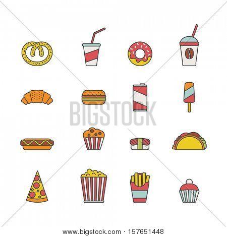 fast food. set of minimalistic line icons.