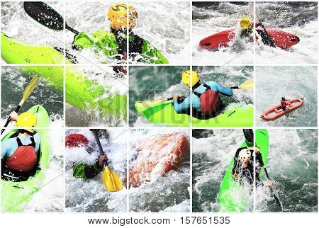 Whitewater extreme kayak collage splashing the waves