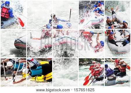 Whitewater extreme rafting collage, splashing the waves