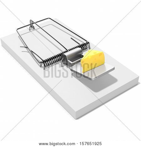 Mouse Trap With A Piece Of Cheese