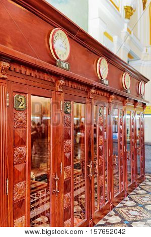 Side View Of Telephone Booths At Saigon Central Post Office