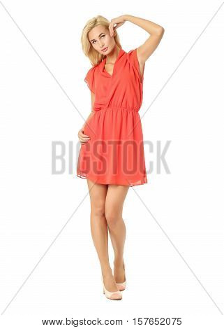 People Of Flirtatious Woman In Tunic Red Dress Isolated On White