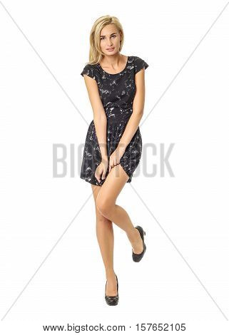 Portrait Of Flirtatious Woman In Black Dress Isolated On White