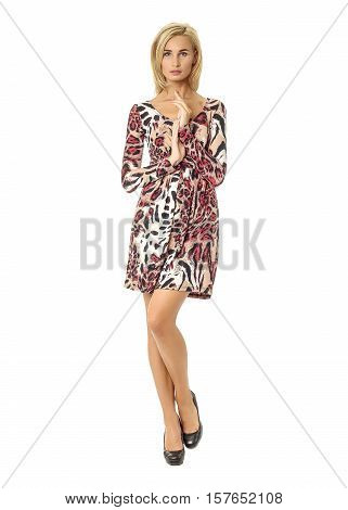 Portrait Of Flirtatious Woman In Leopard Dress Isolated On White