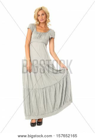 Portrait Of Flirtatious Woman In Maxi Dress Isolated On White