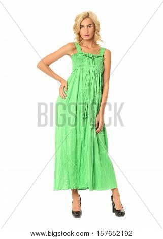 Portrait Of Flirtatious Woman In Green Maxi Dress Isolated On White