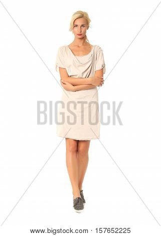 People Of Flirtatious Woman In Tunic Dress Isolated On White