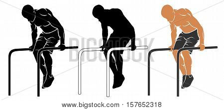 Vector illustration of man performing pull-up on parallel bars
