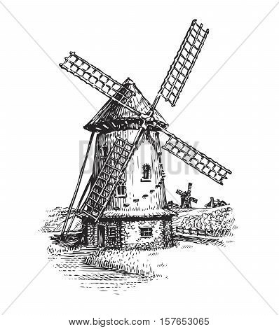 Windmill. Hand drawn vintage sketch vector illustration isolated on white background