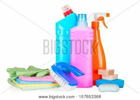 Bottles With Cleaning Agents For Cleaning The House Closeup Isolated