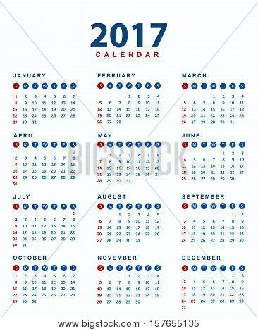 2017 Calendar .Simple design of calendar of 2017