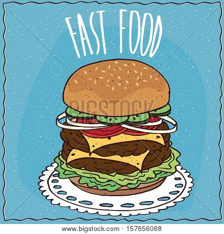 Double Cheeseburger In Handmade Cartoon Style