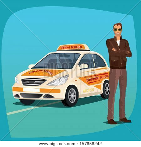 Driving Instructor With School Vehicle