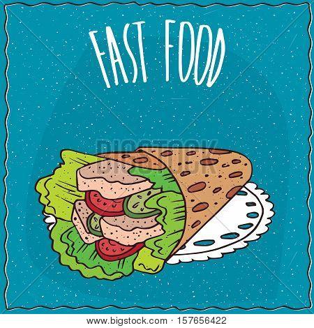 Fast Food With Twisted Pita Looks Like Gyros