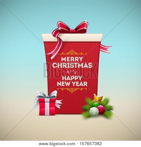Christmas gift box message board. Merry Christmas and Happy New Year text on the box.
