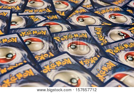 New York City, NY, USA - July 12, 2016: Pokemon trading cards background. Illustrative Editorial