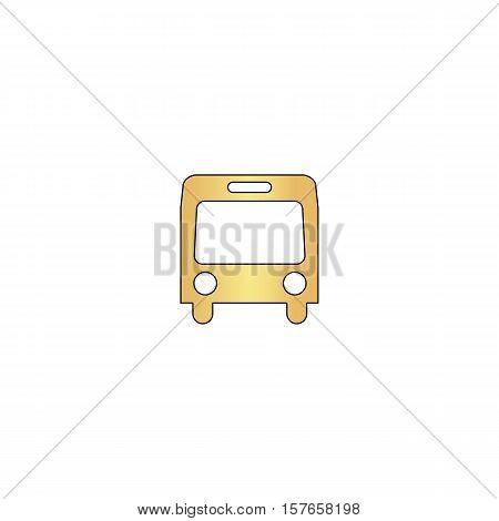 autobus Gold vector icon with black contour line. Flat computer symbol