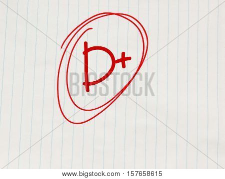 D plus (D+) grade written in red on notebook paper