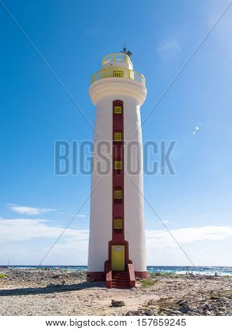 Bonaire Lighthouse Lacre Punt (Willems Toren) in the Carribean