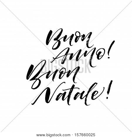 Buon Anne Buon Natale postcard. Happy New Year in italian. Hand drawn holiday background. Ink illustration. Modern brush calligraphy. Isolated on white background.